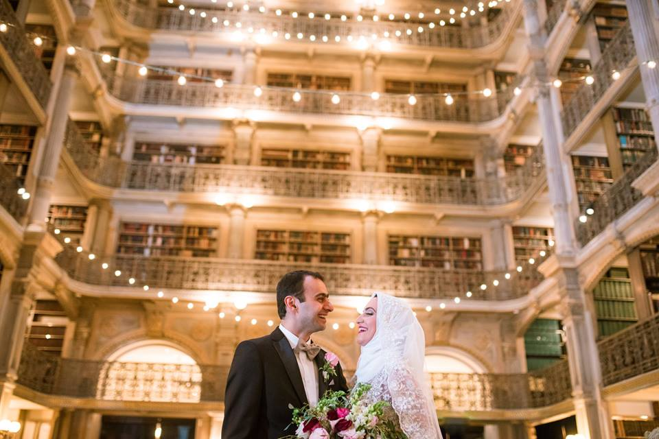 Bride and Groom in Reading Room