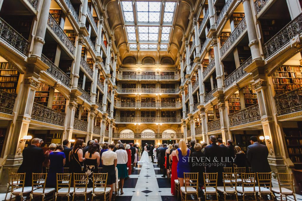 a wedding ceremony in the reading room