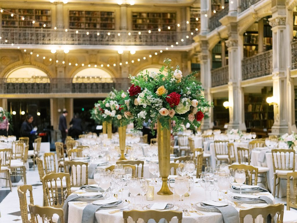Reading room decorated for wedding reception