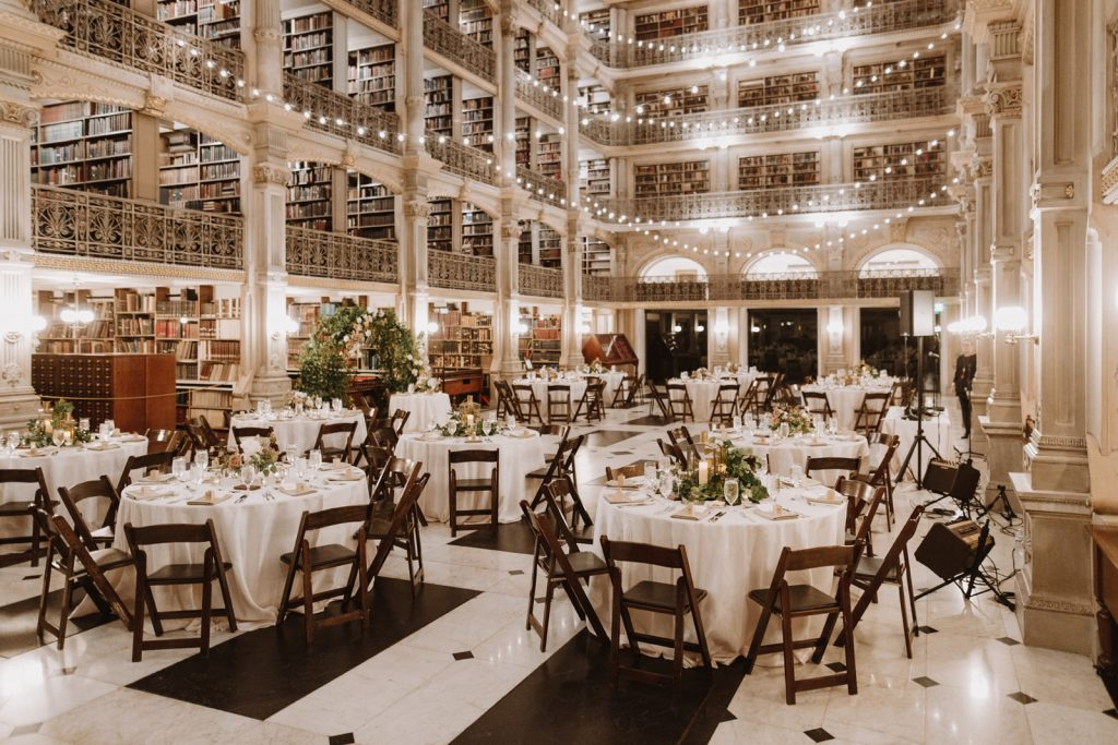 reading room set and decorated for a wedding reception